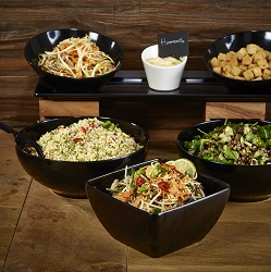 Black Melamine Bowls & Wooden Riser Display