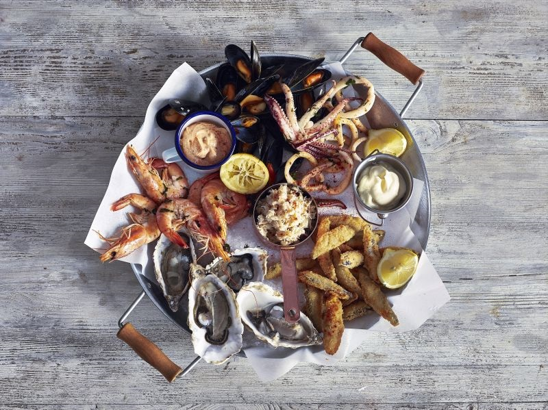 Seafood Sharing Platter with Copper & Enamel
