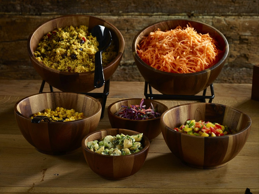 Wood Bowl Buffet Display