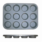 12 Cup Muffin Pan - Non Stick (0.4mm), 104ml / 3.5 oz Each Cup