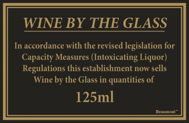 170x110mm 125ml & 175ml Wine Law Sign (Each) 170x110mm, 125ml, &, 175ml, Wine, Law, Sign, Beaumont