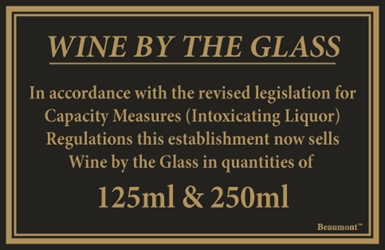 170x110mm 125ml & 250ml Wine Law Sign (Each) 170x110mm, 125ml, &, 250ml, Wine, Law, Sign, Beaumont