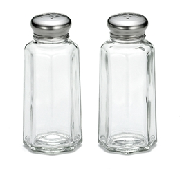 2 oz Paneled S&P Shakers, Stainless Steel Tops