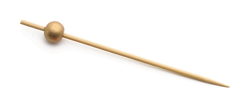 "3.5"" Bamboo Pick with Gold Ball (100 per Pack)"