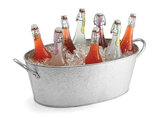 4.4 Gal Galvanized Oval Beverage Tub, Galvanized Steel, 23 x 13 x 7.5""