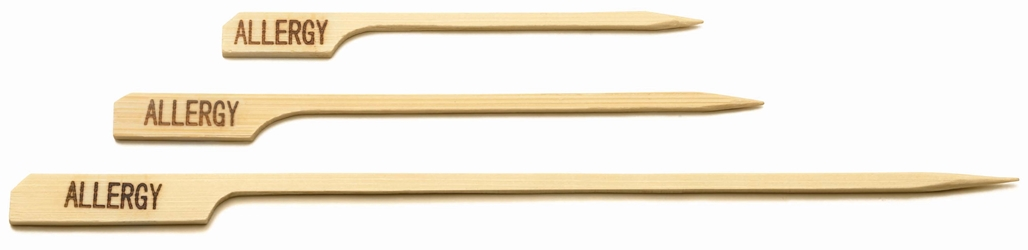 "4.5"" ""ALLERGY"" Bamboo Paddle Pick (100 per Pack)"