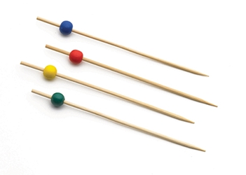 "4.5"" Bamboo Pick, Assorted Pack (25 each: Red, Yellow, Green, Blue) (100 per Pack)"