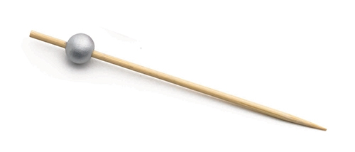 "4.5"" Bamboo Pick with Silver Ball (100 per Pack)"