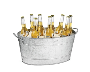 5.5 Gal Galvanized Oval Beverage Tub, Galvanized Steel, 19 x 14 x 9""