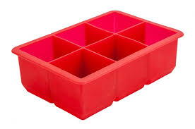 "6 Cavity Silicone Ice Cube Mould 2"" Square (Red) (Each) 6, Cavity, Silicone, Ice, Cube, Mould, 2"", Square, Red, Beaumont"