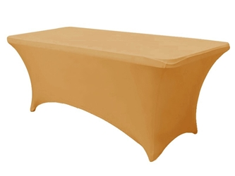 6ft Gold Spandex Lycra Rectangular Trestle Table Cloth Cover (Each)
