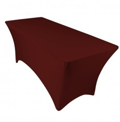 6ft Burgundy Spandex Lycra Rectangular Trestle Table Cloth Cover (Each)