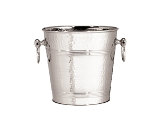 "8 Qt Wine Bucket, Stainless Steel with Hammered Finish, 7.5"" dia x 8.5"" H"