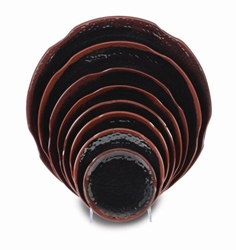 9 3/8? / 240mm Lotus Shape Plate, Tenmoku (12 Pack)