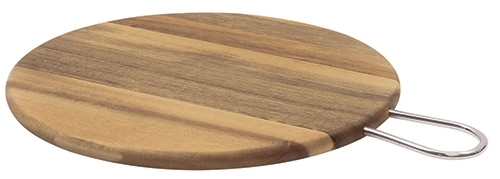"Acacia Round Board w/ Brushed Nickel Handle, 12"" dia x 0.6"" w/ 3"" Handle"