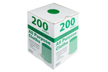 Antibacterial All Purpose Cloths - Green (x200)