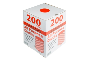 Antibacterial All Purpose Cloths - Red (x200)