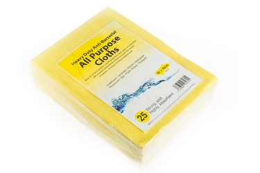 Antibacterial Cloth - Yellow Heavy Duty 75GSM (x25)