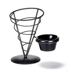 Appetizer Server Black Cone, with 3 oz Ramekin, 5 x 7""