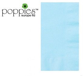 Baby Blue Pre-Folded 3 Ply 40cm Napkins (1000 Pack)