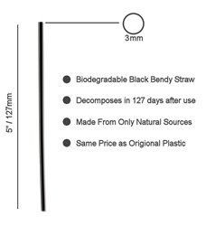 "Biodegradable Black Sip Straws 3mm / 5"" (1000 Pack) Black, Sip, Biodegradable, Straw, 5"", 5 Inches, 3mm, bore, Cocktail"