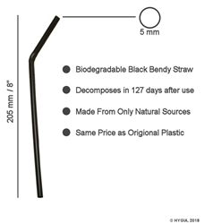 "Black Bendy Biodegradable Straws 5mm / 8"" (250 Pack)  Black, Bendy, Biodegradable, Straw, 8"", 8 Inches, 5mm, bore"