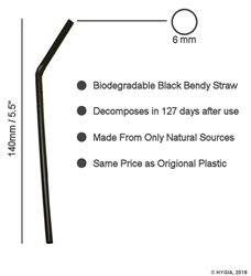 "Black Bendy Biodegradable Straws 6mm / 5.5"" (250 Pack) Black, Bendy, Biodegradable, Straw, 5.5"", 5.5 Inches, 6mm, bore"
