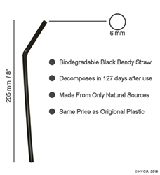 "Black Bendy Biodegradable Straws 6mm / 8"" (250 Pack) Black, Bendy, Biodegradable, Straw, 8"", 8 Inches, 6mm, bore"