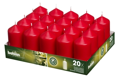 Bolsius® Professional Pillar Candle  98mm x 48mm Red (20 Pack) Bolsius, Professional, Pillar, 98mm, 48mm, Red, bolsius