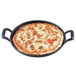 "Cast Iron Pizza Pan with Handles, 12.75"" dia (17.625"" with Handles) x 1.875"" D"