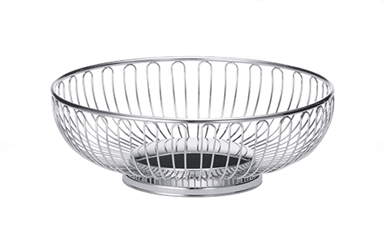 Chalet Round Basket, Chrome Plated, 9.625 x 3.25""