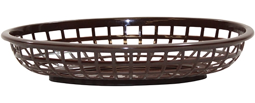 Classic Oval Baskets Hight Density Polyethylene Brown 24x15x5cm (36 Pack)