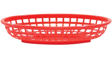 Classic Oval Baskets Hight Density Polyethylene Red 24x15x5cm (36 Pack)