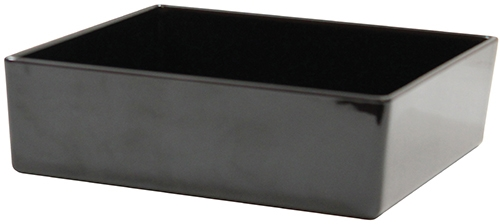 Contemporary Melamine Staight Sided Bowl Black (25.5x25.5x7.5cm) 4 Litre