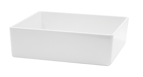Contemporary Melamine Staight Sided Bowl White (25.5x25.5x7.5cm) 4 Litre