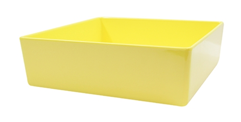 Contemporary Melamine Staight Sided Bowl Yellow (25.5x25.5x7.5cm) 4 Litre