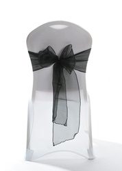 "Crystal Chair Sashes - Black 8""x108"" (5 Pack)"