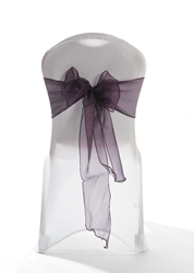 "Crystal Chair Sashes - Plum 8""x108"" (5 Pack)"
