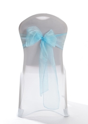 "Crystal Chair Sashes - Tiffany Blue 8""x108"" (5 Pack)"