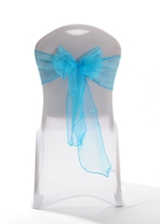 "Crystal Chair Sashes - Turquoise 8""x108"" (5 Pack)"