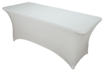 6ft White Spandex Lycra Rectangular Trestle Table Cloth Cover (Each)