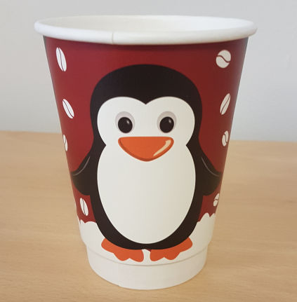 Double Wall XMAS Cup, Penguin Pattern 350ml/12oz (500 Pack)