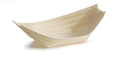 "Large Disposable Wood Boat, 5.25 x 3.375"" (50 per Pack)"