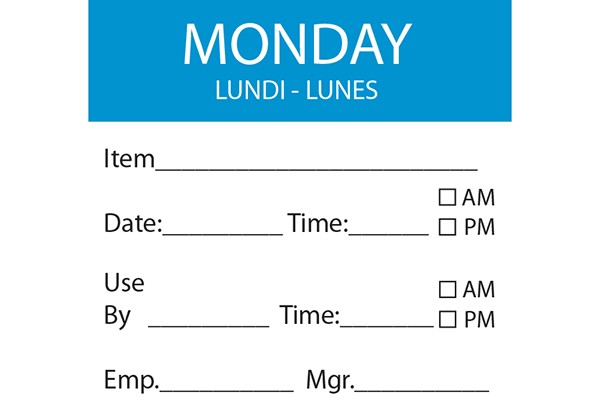 MONDAY Day Label - 50mm x 50mm (x500)