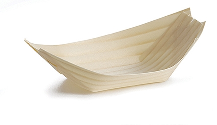 "Medium Disposable Wood Boat, 4.75 x 2"" (50 per Pack)"