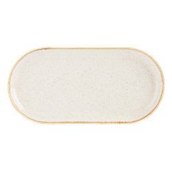 Oatmeal Narrow Oval Plate 30cm (Pack of 6)