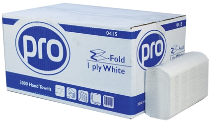 PRO Z-Fold White 1 Ply Paper Towel (3000 Pack)