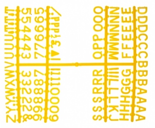 Peg Letter Set Yellow 1 1/4 Inch (Each) Peg, Letter, Set, Yellow, 1, 1/4, Inch, Beaumont