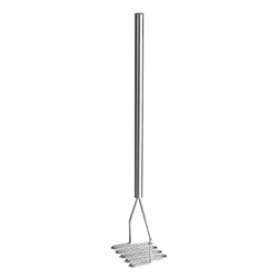 "Potato Masher, 4"" Square Face, Stainless Steel, 18"" Overall"