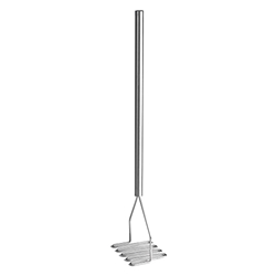 "Potato Masher, 5.25"" Square Face, Stainless Steel, 24"" Overall"